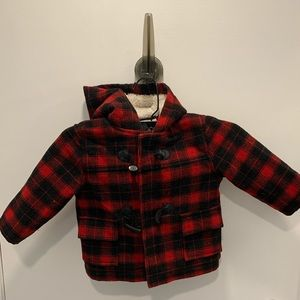 Plaid Lined Jacket Toddler snap closure Hood